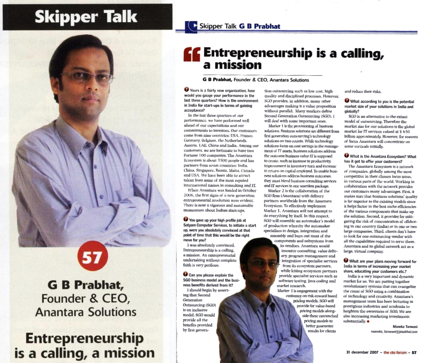 Anantara solutions Founder, G. B. Prabhat Interview